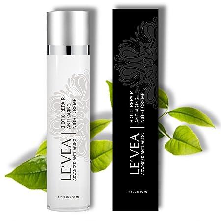 LE VEA Wrinkle Repair Cream Fast Wrinkle Reduce Age Defying Anti-Aging Night Cream Professional Formula Rejuvenate Hydrating Moisturizer With Vitamin C E B5 Green Tea -1.7 oz