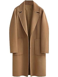 Vogstyle Femme Manteau Long Chaud Mode en Mélange de Laine Cashmere Parka  Casuel Trench Coat Boutonnage 8f546e90f77