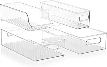 InterDesign Stackable Kitchen Storage Organizer Bins for Fridge, Freezer, Pantry and Cabinet Organization 4 Piece