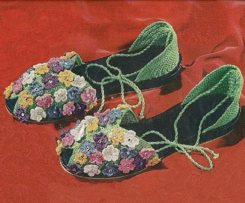 FLORAL SLIPPER SANDALS - A Vintage 1950 Crochet Shoe Pattern with Flowers and Rhinestones (Quick Tricks In Crochet Book (Clarks Crochet Coat)