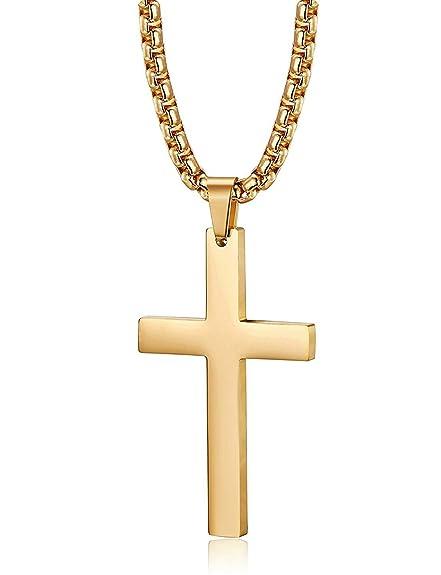 BESTEEL Acero Inoxidable Collar Cruz para Hombre Mujer Pareja Colgante Cruz Cadena Collar Religioso Dorado, 56CM 61CM