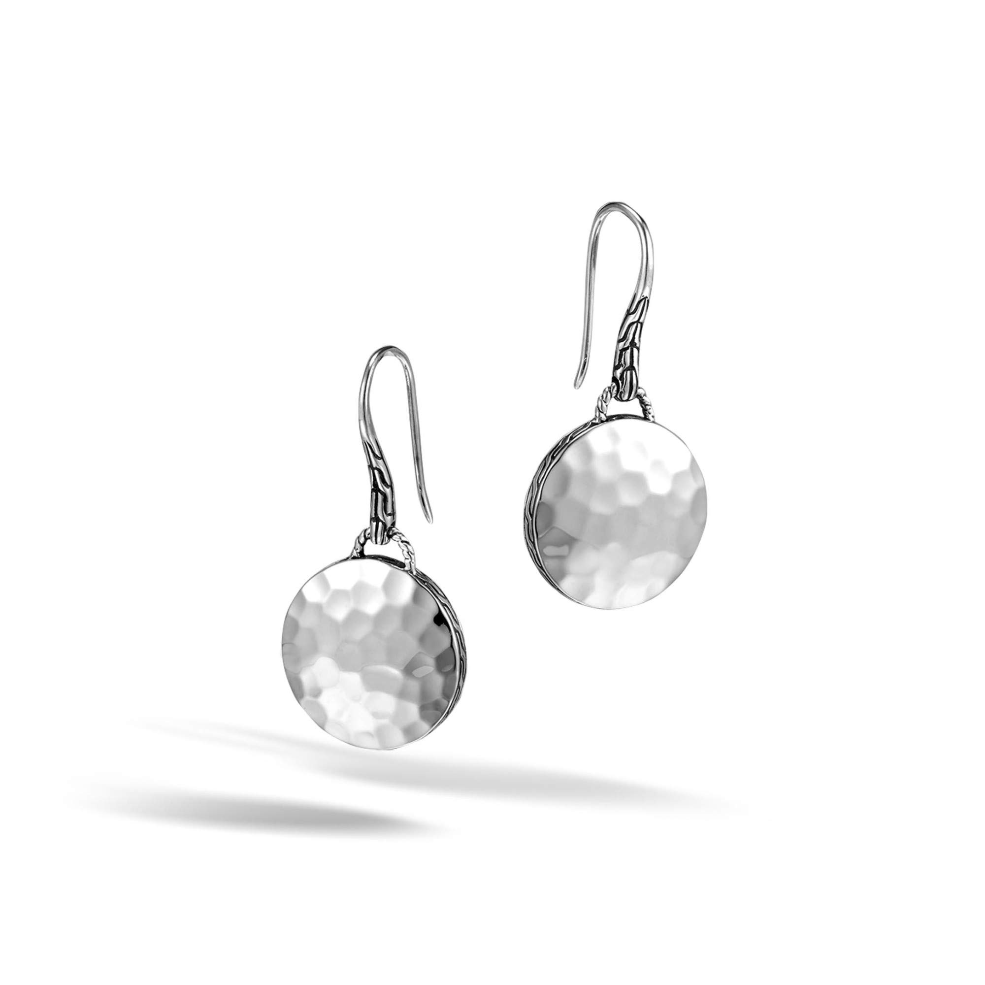 John Hardy Women's Dot Hammered Silver Round Drop Earrings on French wire (Dia 15.5mm)