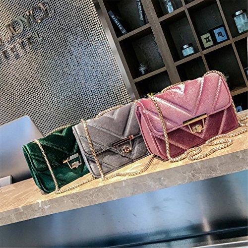 Lattice Handbag The Pink Ladies Diamond Shape Lock Shoulder Quilted Suede Handbag Messenger Women Velour Turn Bag Chain V Bags Aznxwq0tUB