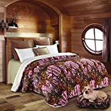 Regal Comfort Pink Camouflage Sherpa Luxury Mink Bed Spread Blanket - The Woods' Pink Camo (Queen 79 inch x 96 inch)