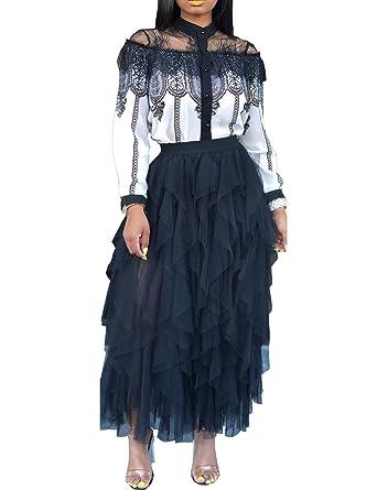 c00525f57aec Amazon.com: Rela Bota Women's Stretchy Sheer Mesh Skirt See-Through Beach  Party Maxi Skirts: Clothing