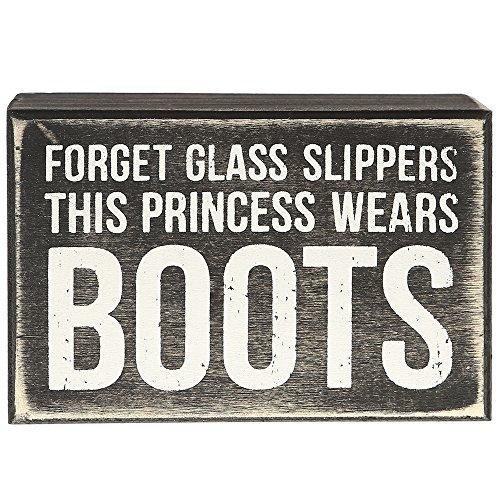 Primitives By Kathy This Princess Wears Boots Box Sign -