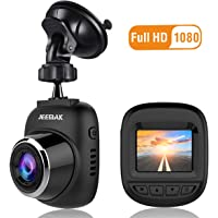JEEMAK Mini Dash Cam 1080P Car Dashboard Camera Wide Angle Driving Recorder 12MP Loop Recording, Motion Detection, WDR and G-Sensor