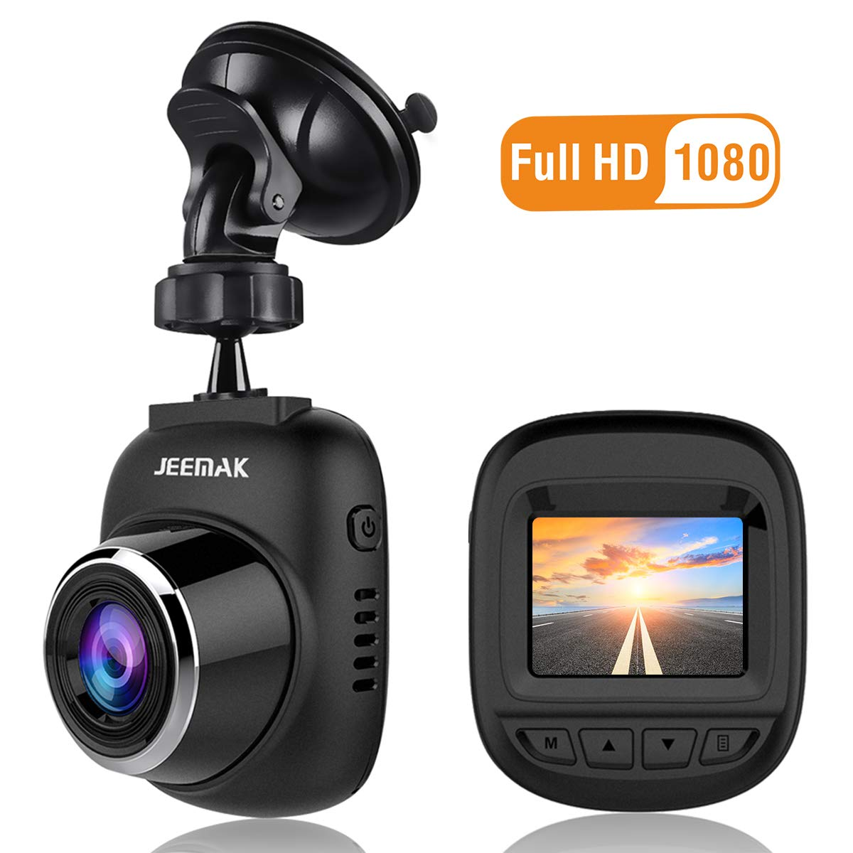 JEEMAK Mini Dash Cam 1080P FHD DVR Car Driving Recorder WDR 1.5 Inch LCD Screen Built In G-Sensor Loop Recording and Motion Detection CE11
