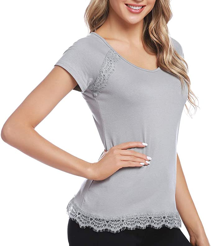 Damen Ladies Shoulder Tee T-Shirt Kurzarm Baumwolle uni