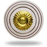 Ceramic Round Knob Gold Circles on White Brass Finish Kitchen Cabinet Cupboard Door Knobs Home Decor Drawer Pull & Handle for Closet Wardrobe Dresser By Trinca-Ferro