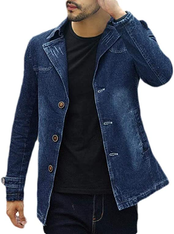 Wilngo Mens Fashion Button Down Stretchy Moto Biker Slim Denim Jacket Coat Outerwear