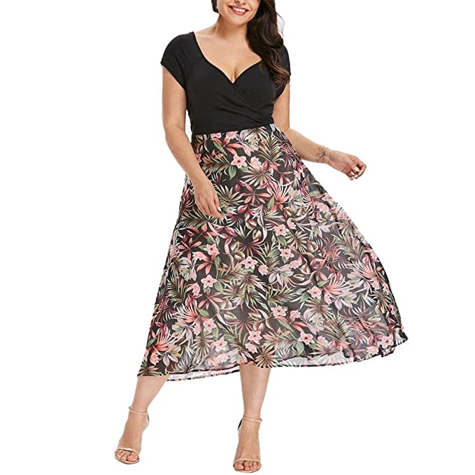 Women V Neck Plus Size Chiffon Midi Dresses Summer Short Sleeve Prom Dress  (Black a25736e51c0e