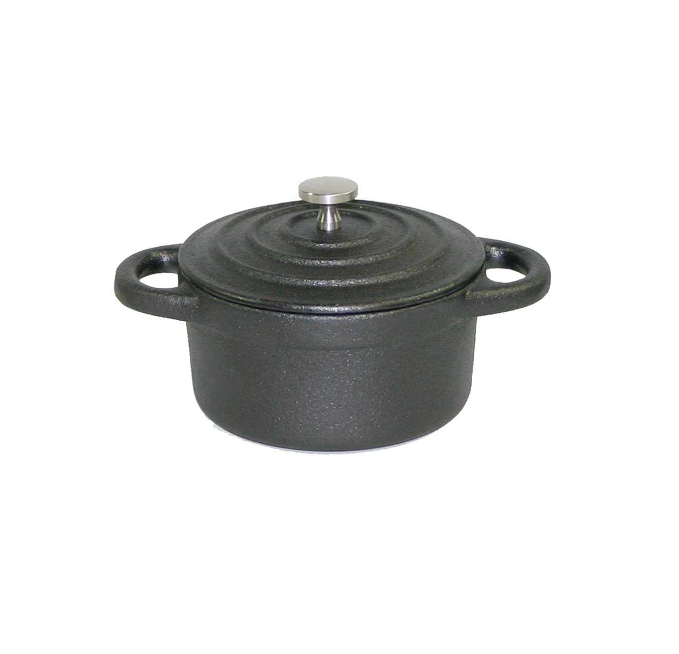 Paderno World Cuisine 0.27-Quart Round Cast-Iron Casserole, Black
