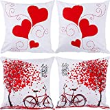 Gejoy 4 Pieces Square Pillow Case Back Cushion Cover for Valentine's Day Halloween St. Patrick's Day Easter Sofa Bedroom Decoration, 18 by 18 inch (Color Set 2)