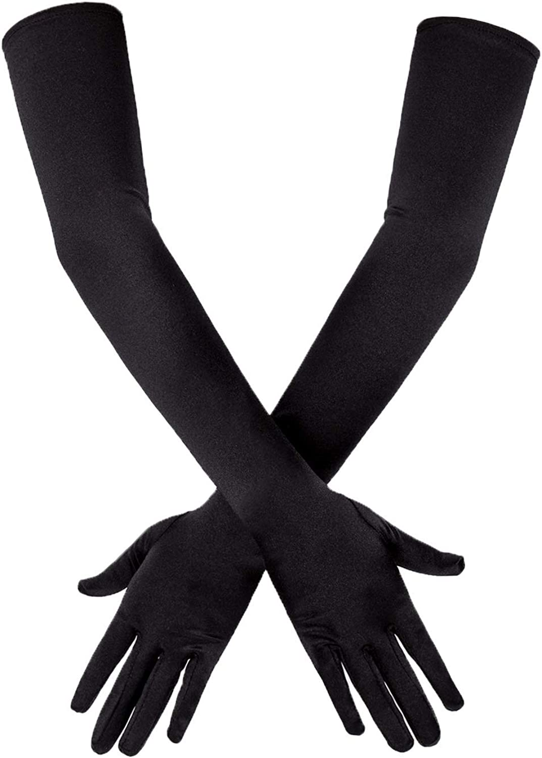 New Dreamgirl 5218 Black Stretch Satin Opera Length Gloves
