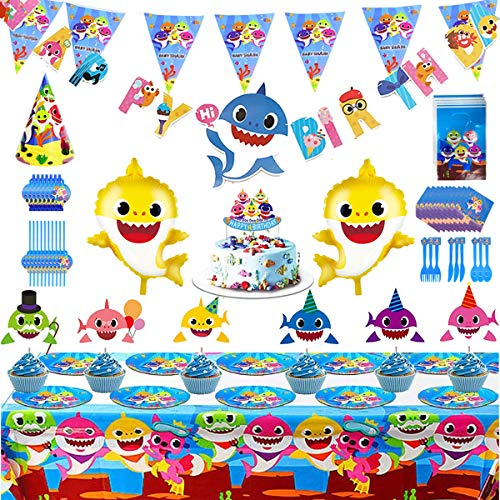 Baby Shark Party Supplies Set,159Pcs Shark Themed Birthday Decoration-Big Cake Topper,Cupcake Topper,Baby Shark Balloons,Happy Birthday Banner,Hat,Gift Bag,Invitation Card,Toys,Party Tableware Packs