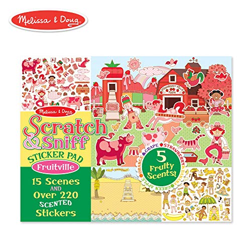 (Melissa & Doug Scratch and Sniff Sticker Pad: Fruitville - 220+ Fruit-Scented Stickers)