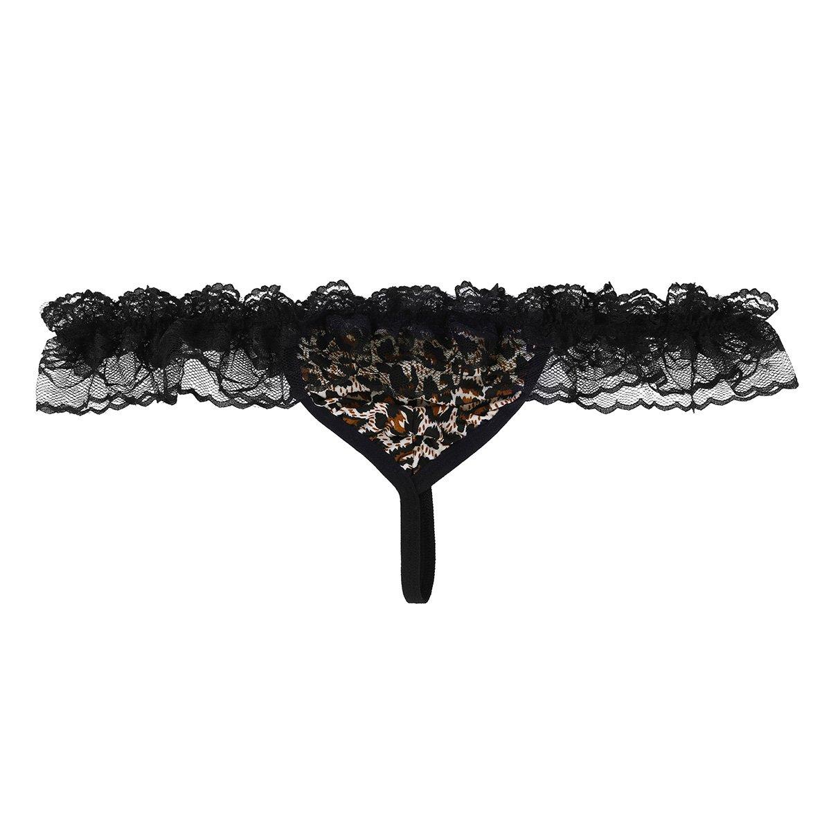 c11f6e05b23 Amazon.com  ACSUSS Sissy Men s Lace Panties Floral G-String Ruffled T-Back  Thong Bikini Briefs  Clothing