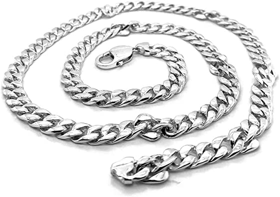 Sterling Silver Cuban Link Necklace Silver Modern Necklace Sterling Necklace Handmade Silver Necklace Silver Link Necklace