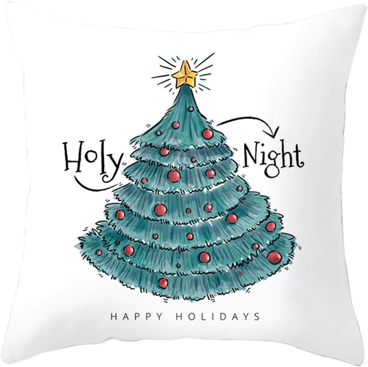 Amody Fundas de Cojin para Sofa, Funda de Almohada 40x40cm Árbol de Navidad Holy Noche Fundas Cojines Cama Decorativos Blanco Verde Estilo 38