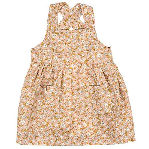 MilkBarn Organic Linen and Organic Cotton Childrens' Pinafore Apron (4-6 Years, Rose Floral)