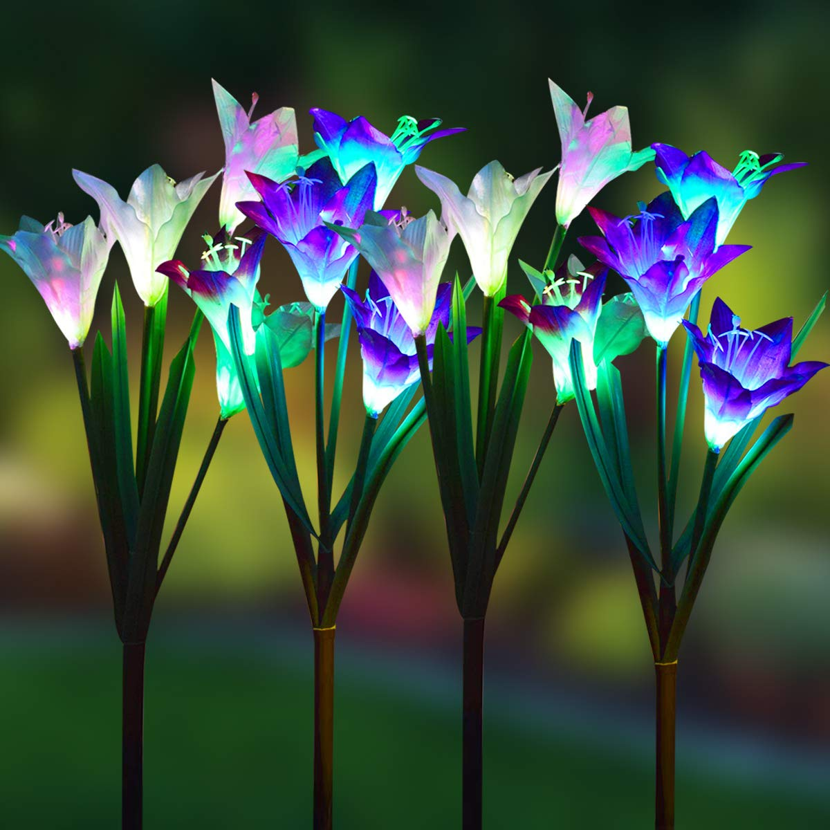 WOHOME Outdoor Solar Garden Stake Lights,4 Pack Solar Powered Lights with 16 Lily Flower, Multi-Color Changing LED Solar Landscape Lighting Light for Garden, Patio