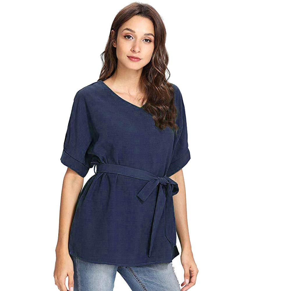 Kekebest Womens Shirts V-Neck Zipper Short Sleeve Casual Vest Top Blouse Loose T Shirts Tops