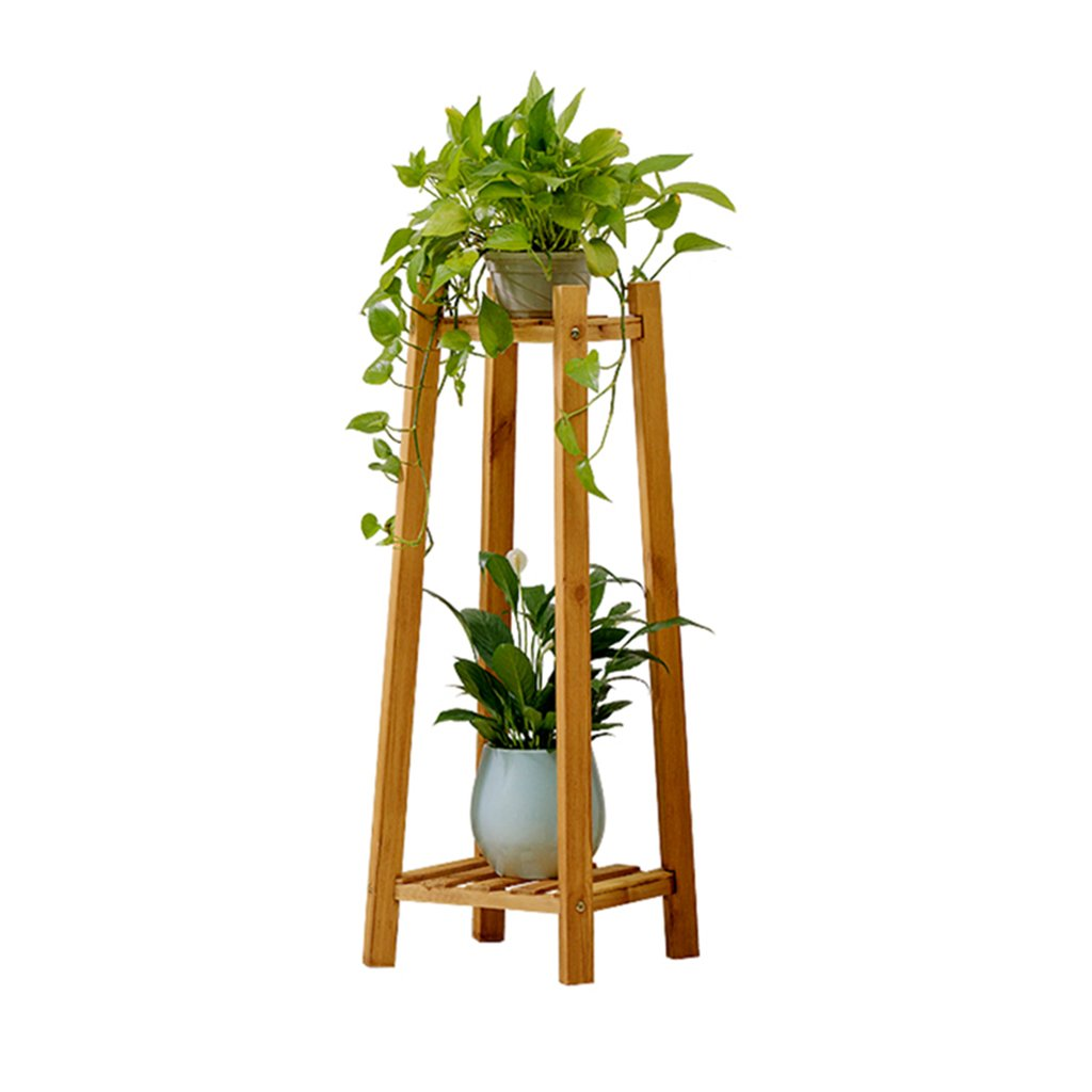 KTYX Vaso per Fiori Mensola Balcone in Legno Massello Pavimento Multipiano Coperta Carnosa Ravanello verde Pentola Flower Stand