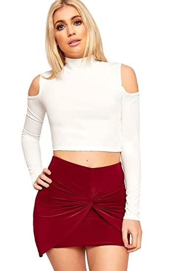 9fd9adc0c1b WearAll Womens Cut Out Shoulder Crop Top Ribbed Long Sleeve Turtle Neck at Amazon  Women's Clothing store: