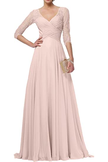 DressyMe Womens A-Line Evening Dresses Lace Sleeves Pleated-6-Beige