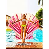 O-Toys Giant Inflatable Shell Pool Float Pink Large Outdoor Swimming Raft Inflatable Floatie Toy By Holiday Styling for Adults and Kids, Red Shell