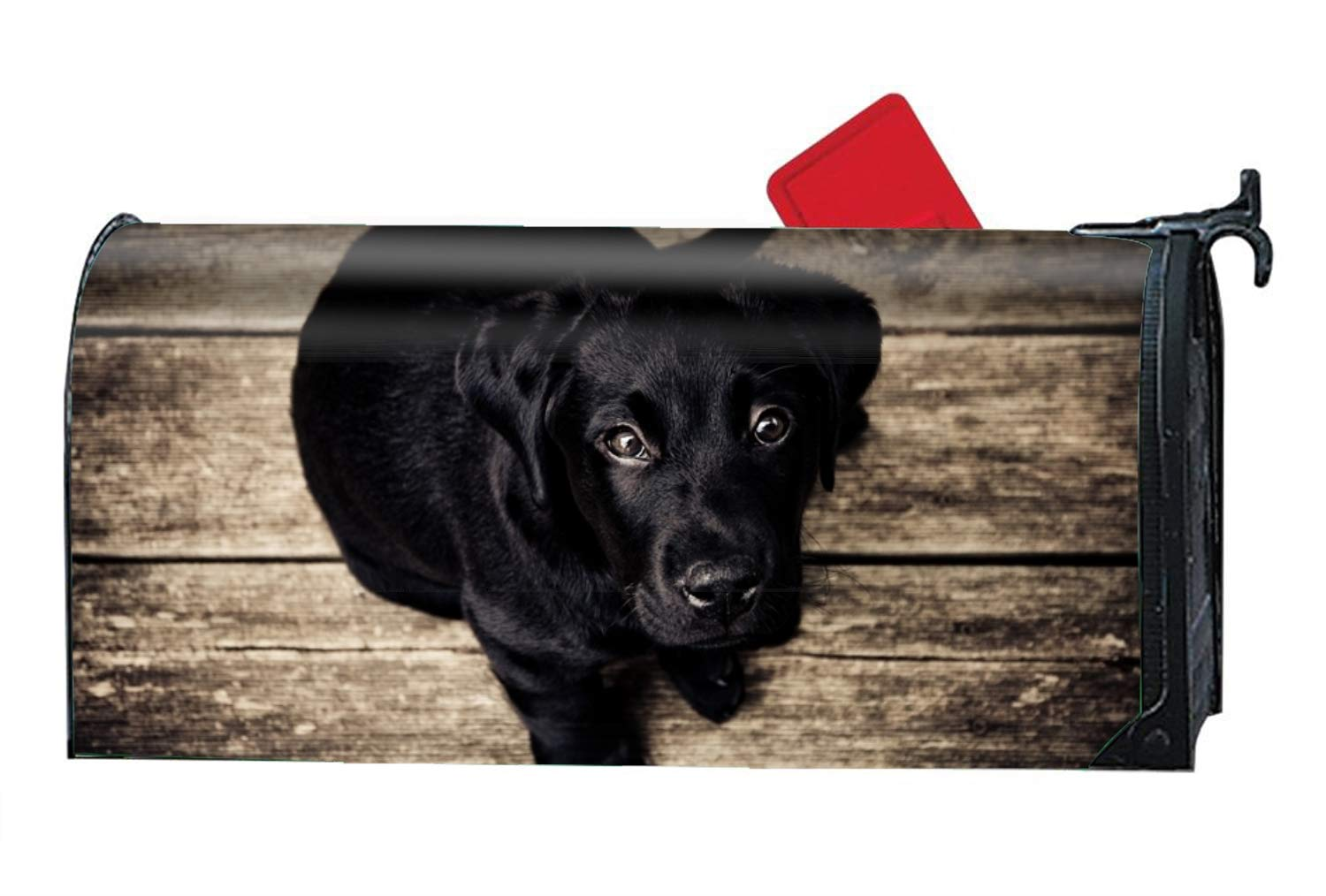 WilBstrn Little Black Dog Magnetic Mailbox Cover£¬Decorative Vinyl Mailbox Wrap for Standard Size