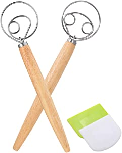 """Danish Dough Whisk Large Hand Mixer - 2 Pack Large 13"""" Stainless Steel Wooden Danish Whisk with 2 Dough Scraper - Dutch Style Artisan Blender for Bread, Batter, Cake, Pastry -Perfect Gift for Bakers"""