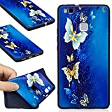 99 cent free shipping - Huawei P9 Lite Case, FIREFISH Flexible TPU Gel Silicone Embossed Printing [Anti Slip] [Scratch Resistances] Easy Grip Back Cover Shell for Huawei P9 Lite (2016) -Butterfly-B