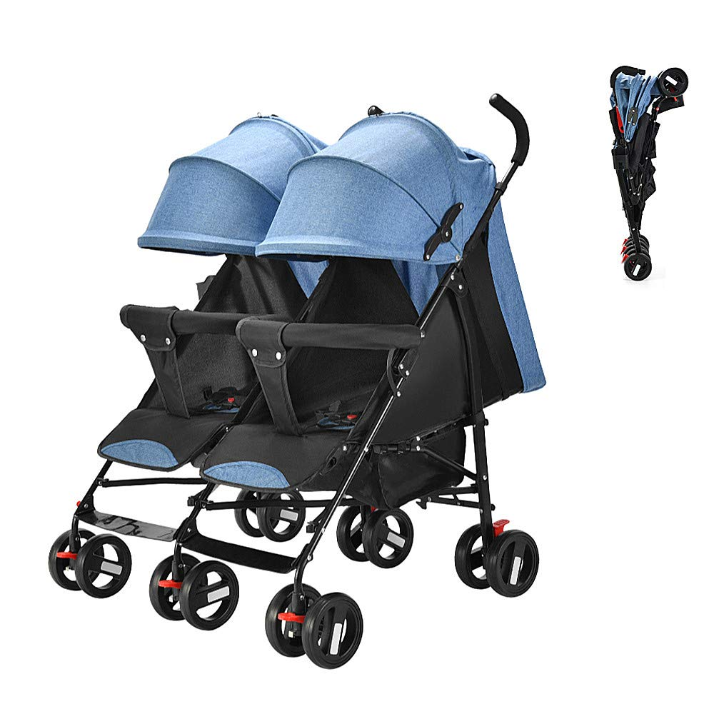 Twin Double Stroller, Foldable Tandem Stroller Side by Side Independently Reclining Seats Lightweight Extended Canopy Newborn Gift,Blue