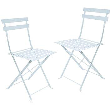 Garten Klappstuhl Metall.Set 2 Klappstühle Metall Farben Weiß Garten Veranda Oder