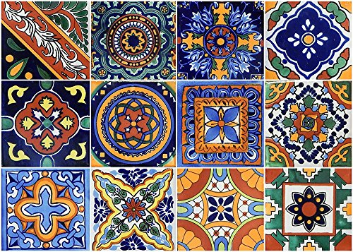 12 Mexican Talavera Tiles Hand Painted 6