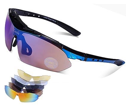 Carfia Sport Sonnenbrille UV400 Schutz Polarisierte Sonnenbrille Sportbrille für Herren Damen, 5 Wechselbare Linsen (C)