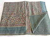 Tribal Asian Textiles Kantha Work Printed Bed Sheets,hand Quilted Kantha Bed Cover,indian Handmade Kantha Bedspread,throw,quilt