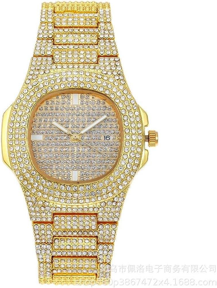 Diamante Relojes Cristal Diamante Diamante de imitación Relojes Reloj Iced out Hip Hop para Hombres Cuero de Acero Inoxidable