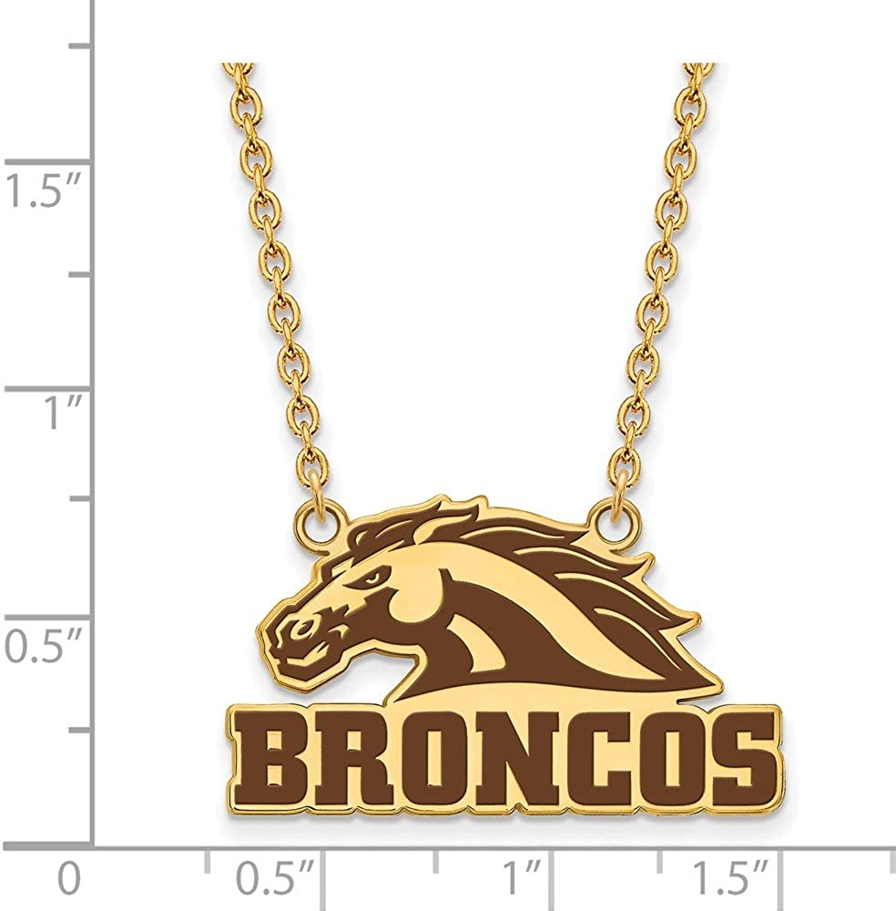 Width = 24mm 925 Sterling Silver Yellow Gold-Plated Official Western Michigan U Large Enl Pendant Necklace Charm Chain 18