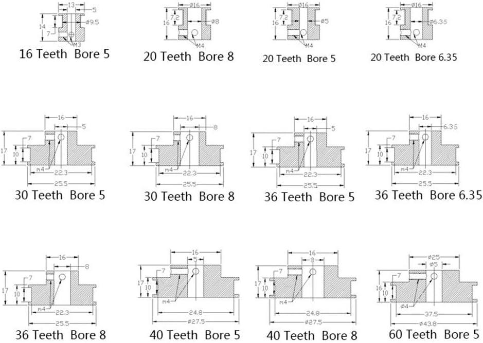 Farbe : Schwarz, Gr/ö/ße : 16Teeth 5MM XBaofu 1PCS 3D-Drucker-Teile 20 Z/ähne GT2 Zahnriemenscheibe Bohrung 5mm 6,35 mm 8mm for Breite 6mm GT2 Synchronriemen 2GT G/ürtel 20teeth Pulley
