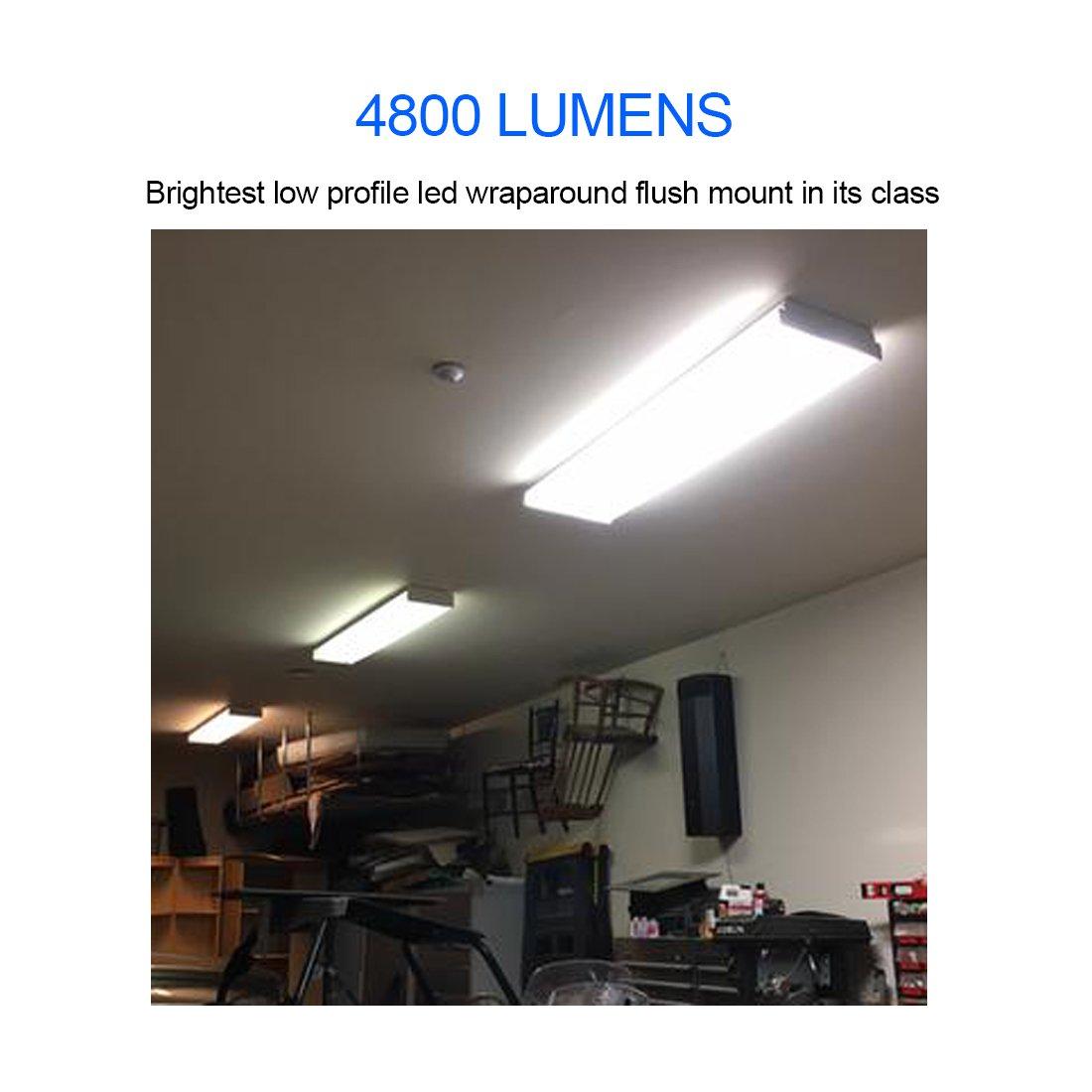 Antlux 4ft Led Garage Shop Lights Wraparound Light Fixture 50w Ac Powered Circuit 120w Flood Enkonn Technology Co Ltd 5500 Lumens 4000k Neutral White 4 Foot Integrated Low Profile Linear Flushmount