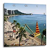 3D Rose Hawaii-Oahu View of Waikiki Beach Wall Clock, 15'' x 15''