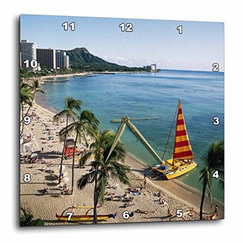 3D Rose Hawaii-Oahu View of Waikiki Beach Wall Clock, 15'' x 15'' by 3dRose