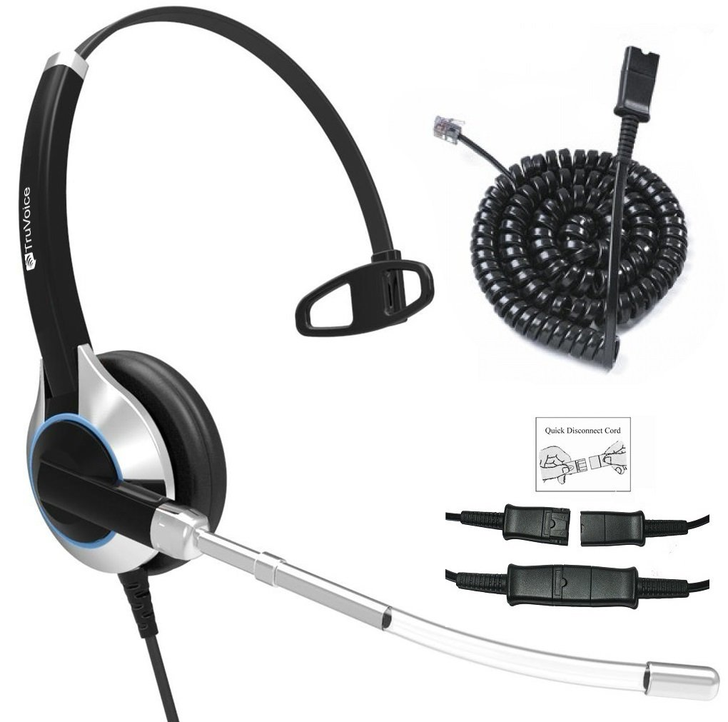 Avaya Digital TruVoice HD-300 Deluxe Single Ear Headset with Noise Reduction Voice Tube and Bottom Cable to Work with Mitel Digium Fanvil Many More Aastra Nortel Polycom VVX Shoretel