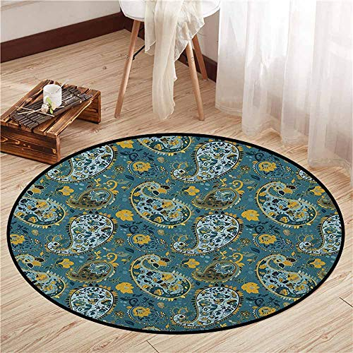 - Area Round Rugs,Paisley,Antique Curly Floral Motifs Old Fashioned Baroque Blossoms Oriental Cultural Design,Door Floor Mat for Bedroom,4'11