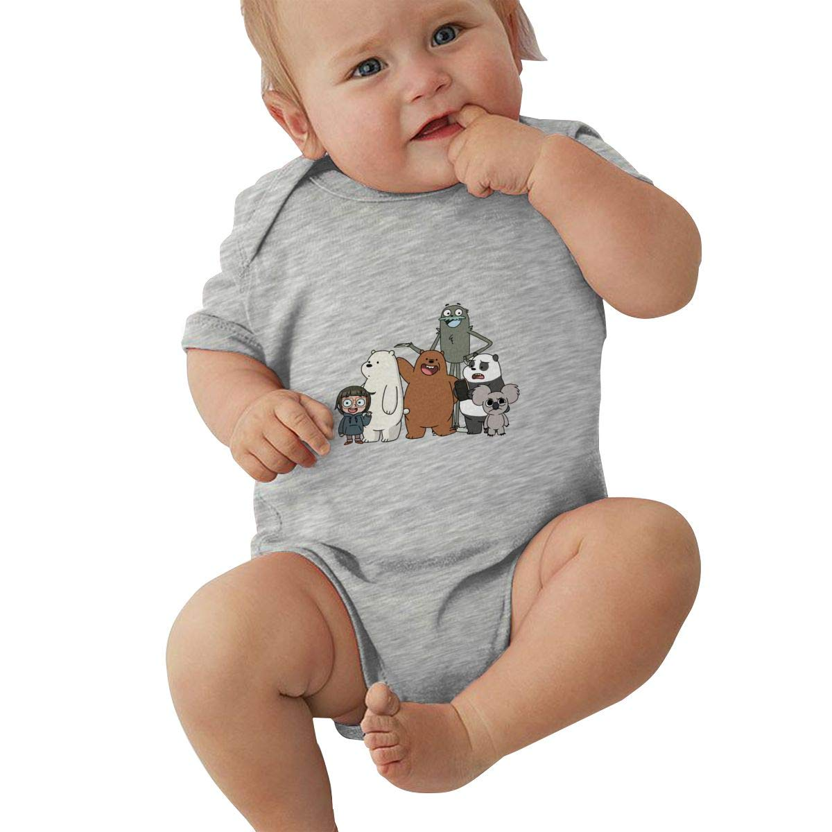 LuYiDa Baby Crew Neck Short Sleeve Climbing Clothes We Bare Bears Funny Crawling Suit Black