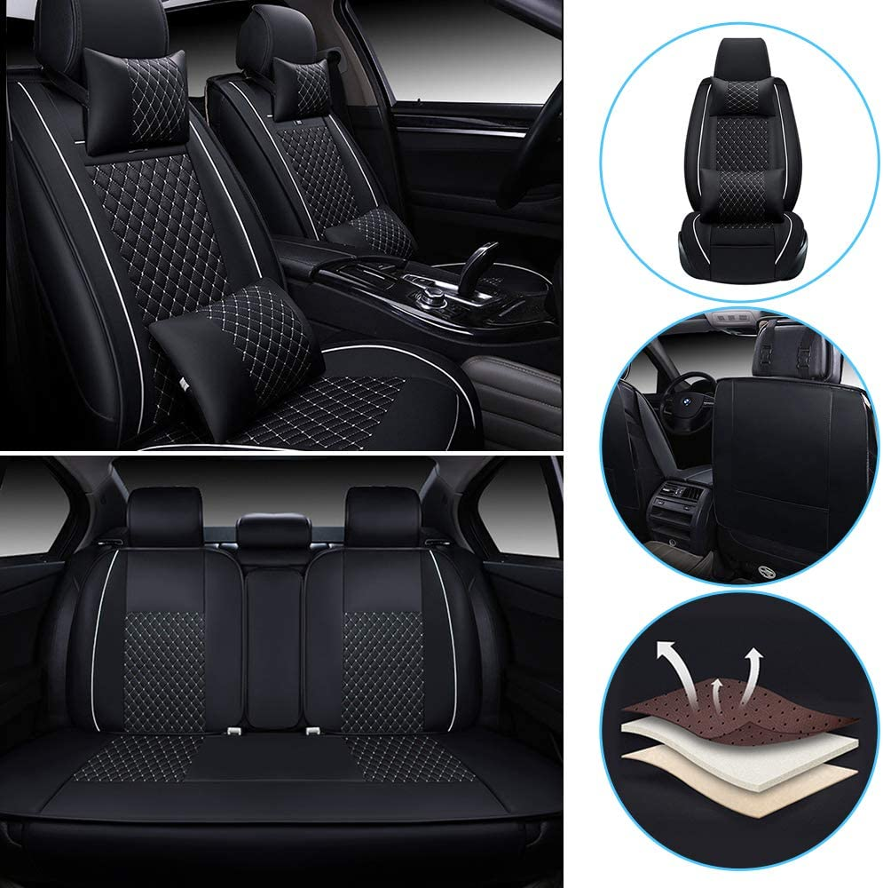 All Weather Custom Car Seat Covers for Acura Most Car Models 5-Seat Full Protection Waterproof Fashion Ultra Comfort Black /& Red Full Set