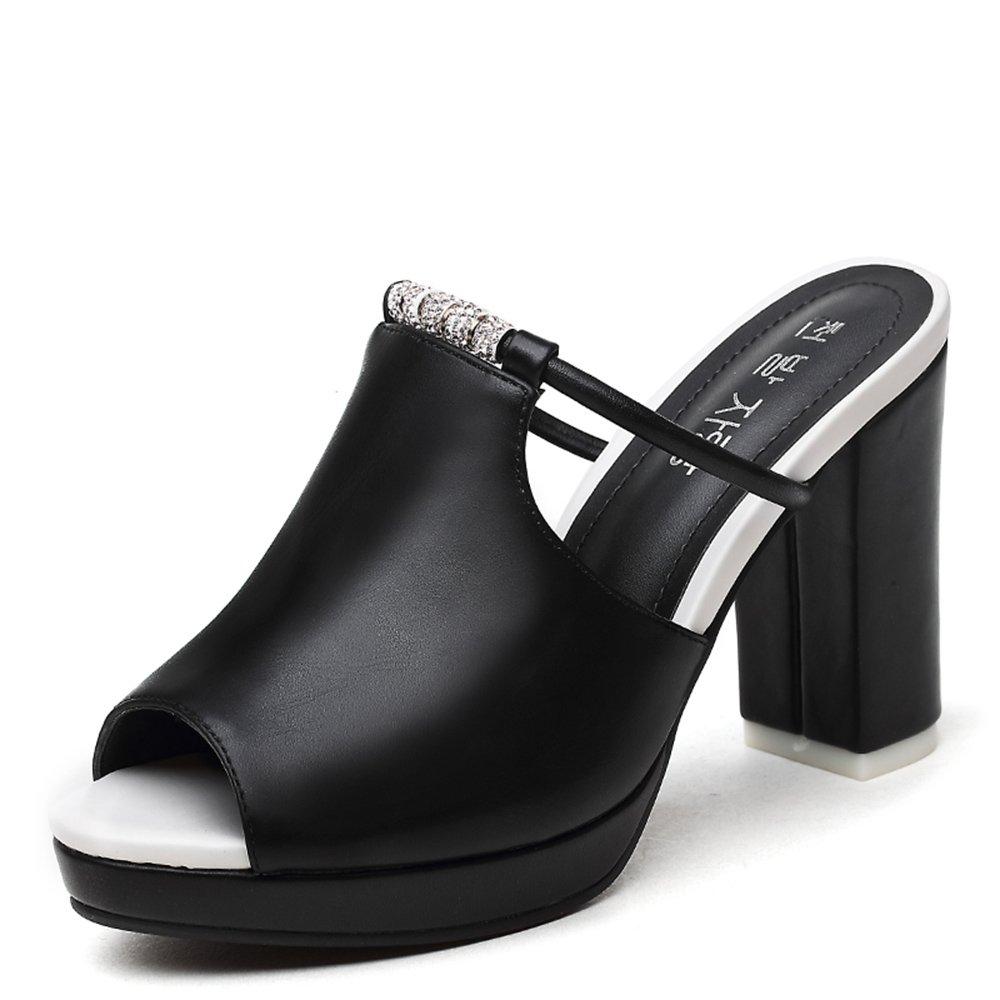 ZHIRONG Sandalias de verano de las mujeres de moda impermeable plataforma abierta punta de pescado boca con cuentas de tacón alto zapatillas Rome grueso playa inferior zapatos 10 CM ( Color : Negro , Tamaño : EU39/UK6/CN39 )